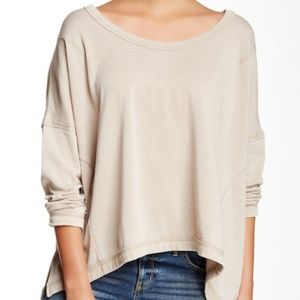 Free People Tan Hi-Lo Dolman Knit Pullover